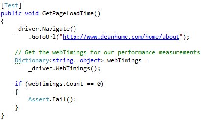 Web Timing Selenium Unit Test